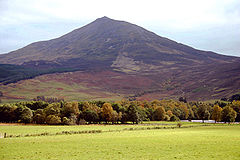 We look across green fields to a mountain rising behind a line of trees. Its flanks are bare, and the mountain shows a distinctly symmetrical peak.