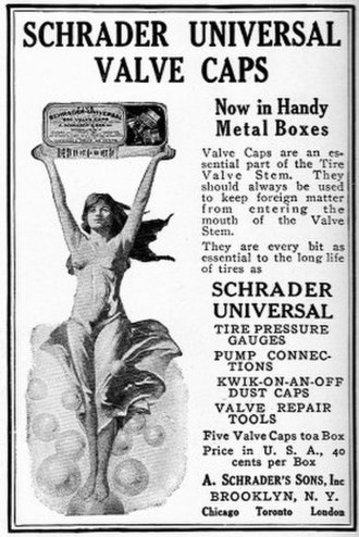 Schrader valve - Schrader valve advertisement, National Geographic April, 1921.