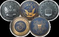 Sceaux des cinq branches des Forces armées des États-Unis avant l'officialistion d'une sixième le 20 décembre 2019