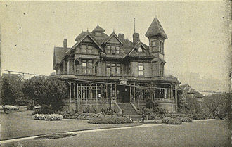 Henry Yesler - The Yesler mansion, depicted here in 1900, burned January 2, 1901. At that time, it housed the Seattle Public Library.
