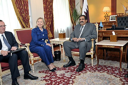 Secretary of State Clinton meets with Qatari Emir Hamad bin Khalifa Al Thani, 21 September 2010 Secretary Clinton Holds a Bilateral With Qatari Emir Hamad al Thani (5013253061).jpg