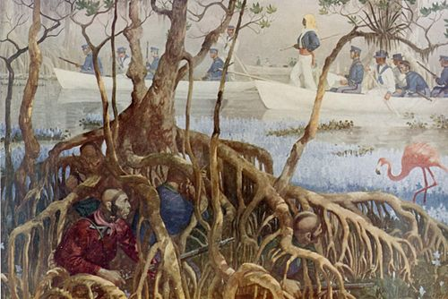 U.S. Marines searching for the Indians during the Seminole War Seminole War in Everglades.jpg