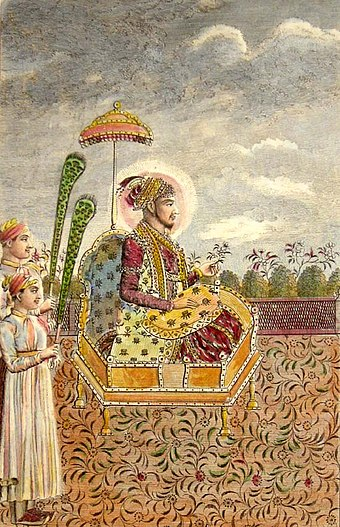 The Mughal Emperor Shah Alam II, who with his allies fought against the East India Company during his early years (1760-1764), accepted the protection of the British in the year 1803, only after he had been blinded by his enemies and deserted by his subjects Shah Alam II, 1790s.jpg