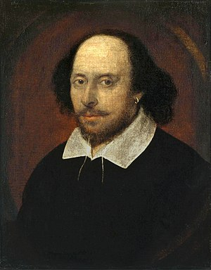 "Sonnet - William Shakespeare, in the famous ""Chandos"" portrait. Artist and authenticity unconfirmed. National Portrait Gallery (UK)."