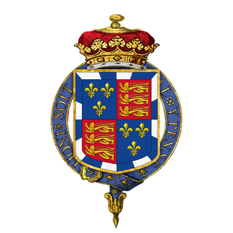Henry Somerset, 8th Duke of Beaufort - Garter encircled arms of Henry Somerset, 8th Duke of Beaufort, KG, as displayed on his Order of the Garter stall plate in St. George's Chapel.