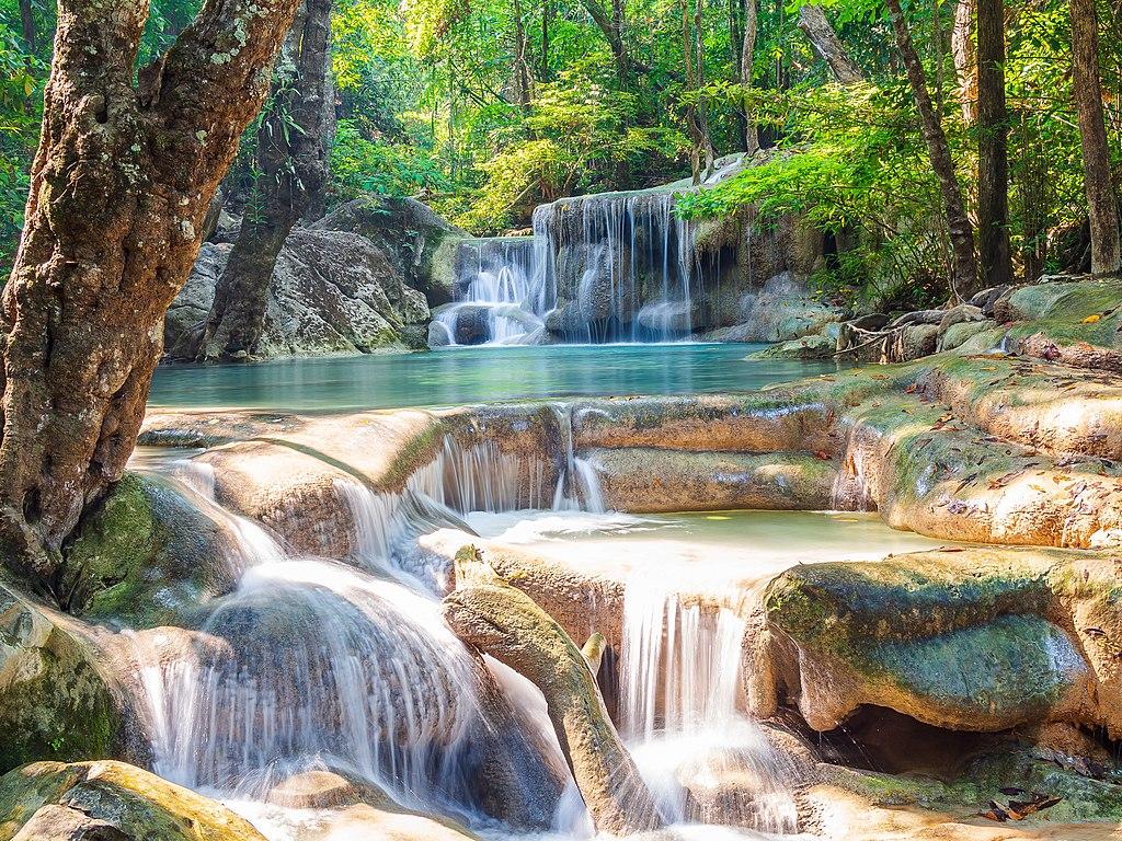 Shining fall Erawan waterfall