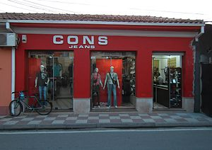 Designer clothing - A shop named CONS Jeans in the Albanian city of Shkodra. 2008.