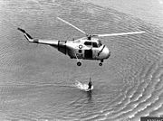 Sikorsky S-55 rescue hover bw