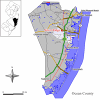 Map of Silver Ridge CDP in Ocean County. Inset: Location of Ocean County in New Jersey.