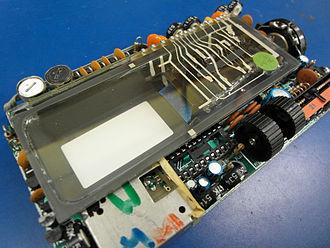 Cathode ray tube - A flat CRT assembly inside a 1984 Sinclair FTV1 pocket TV