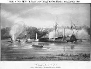 Sinking of the 'Otsego' and blowing up of the 'Bazeley