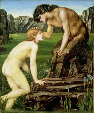 Human–animal hybrid - In this 19th-century piece by Edward Burne-Jones, the human woman Psyche receives affection from the hybrid deity Pan.