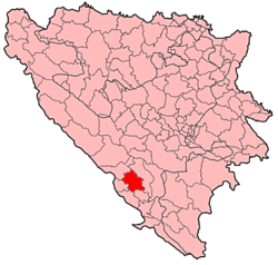 Location of the Široki Brijeg of Bled in Bosnia and Herzegovina