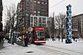 Skiers about to board Portland Streetcar at Jamison Square, Feb 2014.jpg