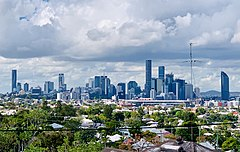 Skylines of Brisbane CBD in June 2019 seen from Paddington, Queensland.jpg