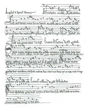 Godric of Finchale - 13th-century manuscript of the four hymns of St Godric