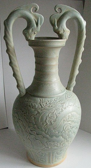 Amphora - Chinese celadon vase in form similar to an amphora, Song or Yuan Dynasty