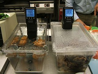 Sous-vide Food cooking method using prolonged low-temperature heat.