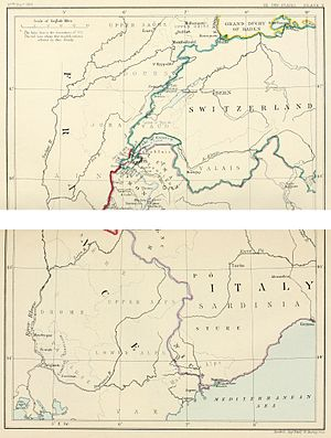 Treaty of Paris (1815) - South-east frontier of France after the Treaty of Paris, 1815