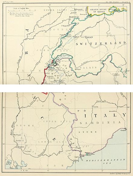 South-east frontier of France after the Treaty of Paris, 1815 South-east frontier of France after the Treaty of Paris, 1815.jpg