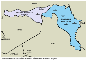 Disputed territories of Northern Iraq - Map showing the claimed borders of Southern Kurdistan