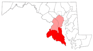 Southern Maryland - Southern Maryland counties. Those shaded in red are considered part of Southern Maryland, while those in pink may or may not be considered in Southern Maryland, depending on the source.