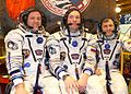 Soyuz TMA-21 crew in front of the capsule-2.jpg