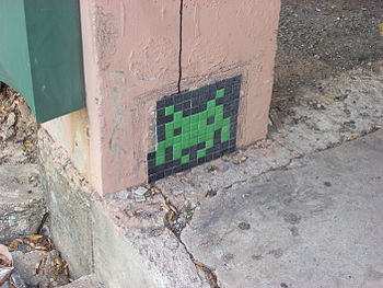 Space Invader in downtown Dallas. He's losing ...
