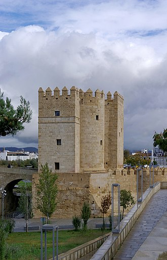 Córdoba, Spain - The Tower of Calahorra to one side of the Roman Bridge.