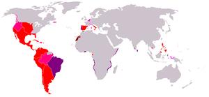Mapa anacrónico que muestra las áreas que pertenecían al Imperio Español en algún momento durante un periodo de 400 años.       El Imperio español en su cúspide territorial alrededor de 1790       Regiones de influencia (exploradas y/o reclamadas pero nunca controladas) o colonias en disputa o de corto control       Posesiones del Imperio Portugués gobernadas por España entre 1580-1640 por anexión dinástica       Territorios perdidos en o después de 1717 por la Paz de Utrecht       Marruecos y Sahara Occidental 1884-1975.