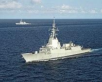 Spanish frigate Álvaro de Bazán (F101) underway in the Atlantic Ocean on 15 July 2005 (050715-N-8163B-020).jpg