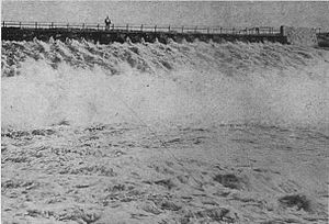 Avalon Dam - Spillway of the second dam in 1903, before the flood washed it out