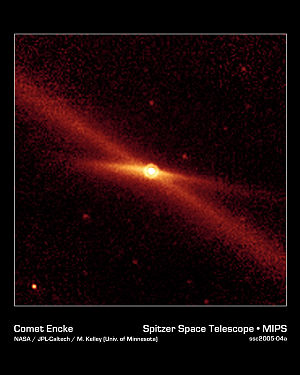 Comet Encke - A Spitzer image of Encke and its debris trail in infrared light.