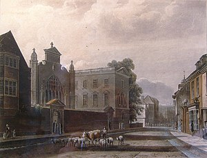 Peterhouse, Cambridge - St Peter's College, view from Trumpington Street, 1815