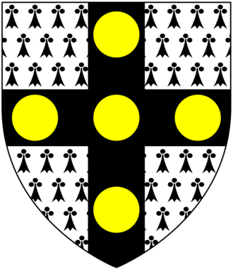 Molesworth-St Aubyn baronets - Arms of St Aubyn, as quartered by the Molesworth-St Aubyn Baronets of Pencarrow: Ermine, on a cross sable five bezants