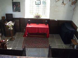 St James' Church, Midhopestones - The interior seen from the gallery showing the pulpit and altar.
