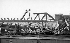 Lewisham rail crash - The rail-over-rail bridge being dismantled