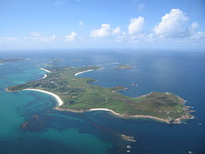 St Martin's, Isles of Scilly - Aerial photo of St Martin's — the daymark is to the right.