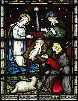 St Mary's Church, Kennington, Kent - Stained Glass Nativity scene, photo by John Salmon