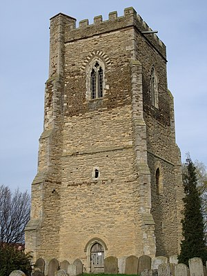 Marston Moreteyne - The rare feature of a detached tower at St Mary The Virgin in Marston Moretaine - Spring 2007