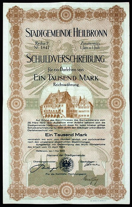 Bond of the Municipality Heilbronn, issued 10. April 1923 Stadtgemeinde Heilbronn 1923.JPG