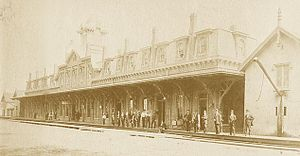 Stamford Transportation Center - The 1861-built depot in 1868