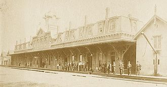 Stamford Transportation Center - The 1861-built depot in 1868