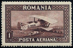 TAROM - Blériot-SPAD S.46 on airmail stamp