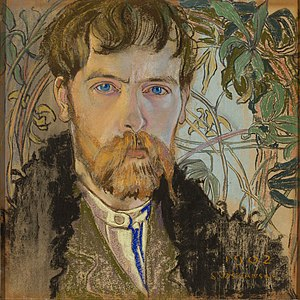 Young Poland - Stanisław Wyspiański self-portrait in soft pastel, 1902