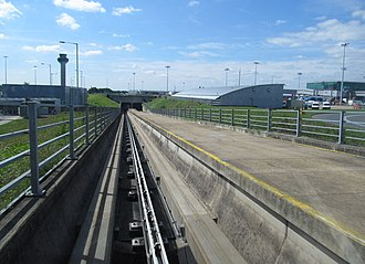 Stansted Airport Transit System - Travelling downhill from the main building to enter the underground tunneled section