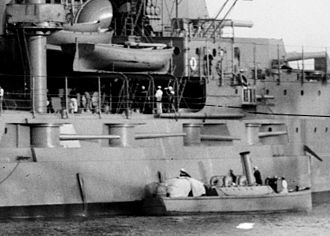 "Florida-class battleship - Starboard forward battery of 5""/51 caliber guns on Utah"