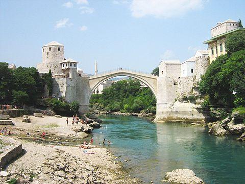 Stari Most, 16th-c. Ottoman bridge & UNESCO site in Mostar, Bosnia and Herzegovina.