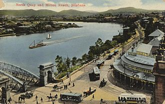North Quay, Brisbane - An old photo of North Quay, coloured for a postcard