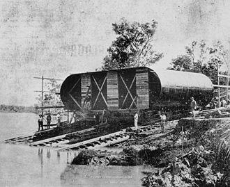 Construction of Queensland railways - Bridge construction across the Fitzroy River, 1898